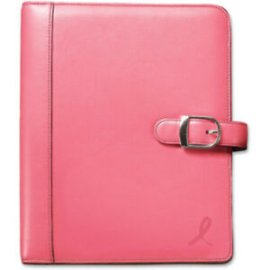Planner Starter Set Pink Ribbon Snap Leather Bind 7 Ring Organizer Tabbed Pages