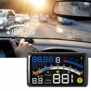5 5 Car Hud Head Up Display Projector Obd2 Gauge Speed Warning Fuel Consumption
