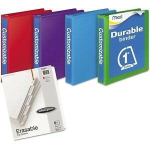 D ring View Binders 4 Pack 1 250 Sheets Assorted Colors Tab Dividers Durable