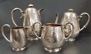 Antique Scottish Silverplate Tea Coffee Set By Rattray Of Dundee