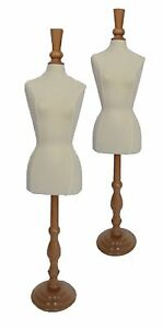 Two Mini Jersey Fabric Covered Pinnable Dress Forms For Jewelry Or Doll Display
