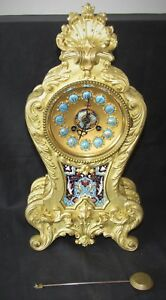 Nice French Rococo Ormolu Clock With Enamel Detail By Japy Freres