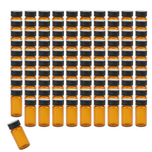 10 20ml Glass Oil Reagents Refillable Sample Bottle Brown Glass Vials 100pcs
