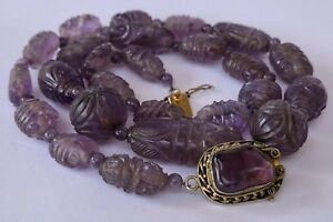 Antique Old Chinese Carved Amethyst Beads Filigree Gilt Silver Clasp Necklace