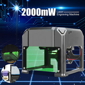 2000mw Desktop Laser Engraving Printer Machine Logo Marking Engraver Cutter Gift