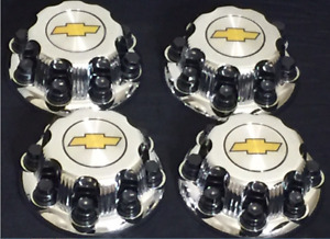 8 Lugs New Chevy Yellow Express Van 2500 3500 Chrome Replacement Center Hub Caps