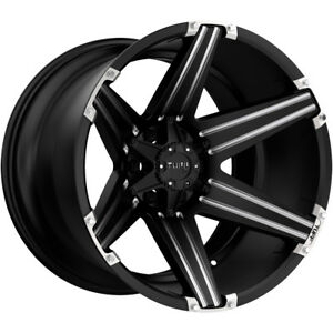 4 New 22 Inch Tuff T 12 22x12 6x139 7 6x5 5 45mm Black Milled Wheels Rims