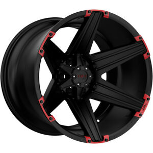 4 New 22 Inch Tuff T 12 22x12 6x139 7 6x5 5 45mm Black Red Wheels Rims