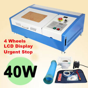 40w Co2 Laser Engraving Cutting Machine 12 x8 Engraver Cutter Usb Port 4 Wheels