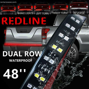 48 Inch 2 Row Led Truck Tailgate Light Bar Strip Red White Reverse Stop Turn New