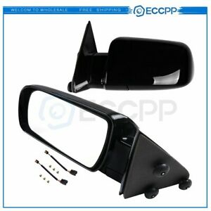 Pair Manual Fold For 1988 1998 Gmc Chevy Pickup Truck Black Side View Mirrors