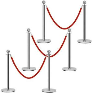 6pcs Stanchion Set Round Top Polished Stainless Crowd Control Barrier Posts Queu