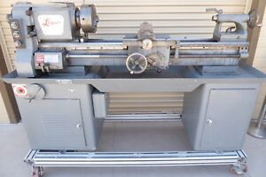 Logan Lathe Model 6565 W cabinet 14 68 Hardened Bed 9 Chuck Taper Attachment