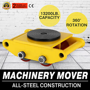 Industrial Machinery Mover With 360 rotation Cap 13200lbs 6t 4 Rollers Yellow