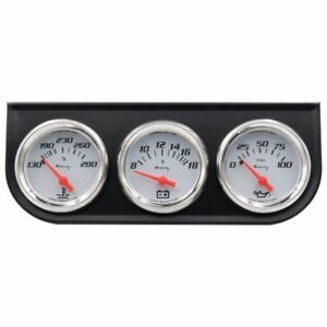 2 Inch White Triple Gauge Set With Volt Meter Equus 5200 Authorized Distributor