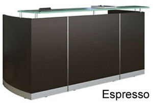 New Modern Curved Reception Front Desk Espresso Finish