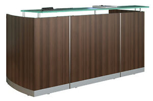New Modern Curved Reception Front Desk Brown Sugar Laminate Finish