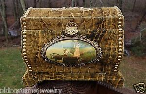 Antique Victorian Celluloid Dresser Box Croc Alligator Velvet Scene High Dome