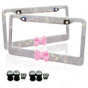 Zone Tech 2 Silver 7 Rows Bling Diamond Crystal License Plate Frame Pink Bow Tie