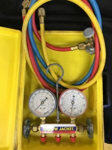 Ritchie Yellow Jacket Test And Charging Manifold Gauges With Box R12 r22 r502