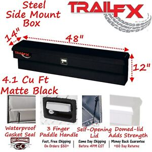 160483s Trailfx 48 Matte Black Side Mount Truck Tool Box