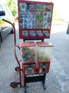 Stacking 6 compartment Gumball Toy Sticker Machines On Stand Greenwald Curtis
