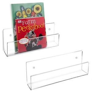2 Piece Wall Mounted Magazine Books Display Holder Rack Organizer Decor Clear
