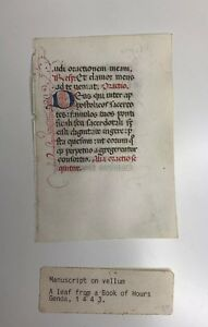 Medieval Manuscript Leaf From A Book Of Hours Vellum Year 1443 Genoa