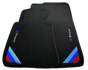 Bmw X5 Series F15 Black Floor Mats With m Power Emblem With Side Clips Lhd