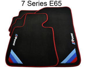 Bmw 7 Series E65 Black Floor Mats Red Rounds With m Power Emblem Lhd New