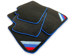 Floor Mats For Bmw M3 Series E90 Black Blue Rounds With Power Emblem Lhd New