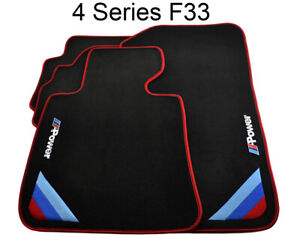 Bmw 4 Series F33 Black Floor Mats Red Rounds With m Power Emblem Lhd New
