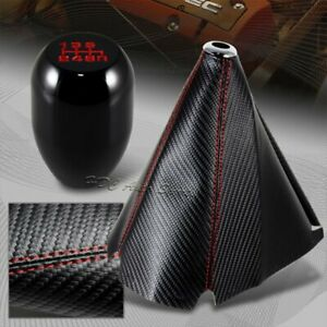 Jdm Red Stitch Carbon Manual Shift Boot Type R Black 6 Speed Shifter Knob
