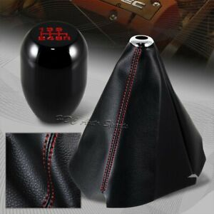 Red Stitch Leather Manual Shift Boot T R Black 6 Speed Shifter Knob Universal 3