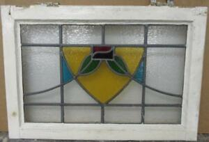 Mid Sized Old English Leaded Stained Glass Window Colorful Floral 23 25 X 16