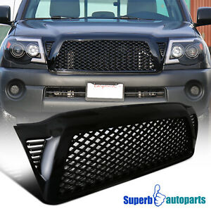 For 2005 2011 Toyota Tacoma Glossy Black Mesh Abs Honeycomb Hood Grille 1pc
