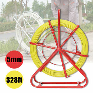 100m 328ft Fish Tape 4 5mm Fiberglass Wire Cable Running Rod Duct Rodder Puller