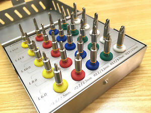 Dental Conical Drill Kit Surgical Implant Drills With Stoppers Set 25 Pcs