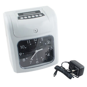 New Employee Attendance Punch Time Clock Payroll Recorder Lcd Display Usa Stock