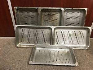 Johnson Rose Full Size Perforated Stainless Steel Steam Table Pans Lot Of 6