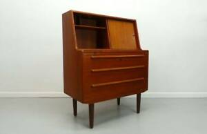 Povl Dinesin Mid Century Danish Modern Slide Out Secretary Desk Vanity