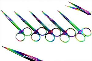 5 German Iris Micro Dissecting Scissors Straight 4 5 Multi Rainbow Titanium