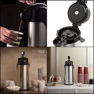 2 2 Liter Airpot Coffee Dispenser With Pump Stainless Steel Vacuum Insulated