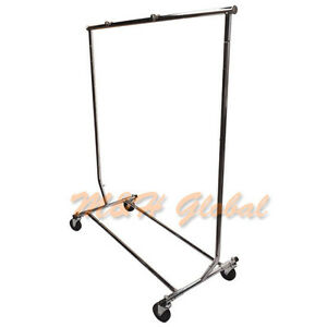 Adjustable Single Bar Clothing Rack Clothes Garment Hanger Display W Wheels