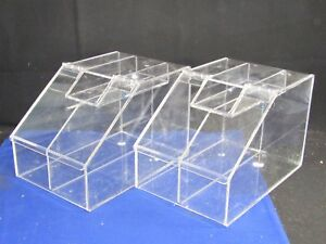 2 Containers 2 5 Gallon Acrylic Lucite Candy Bin 2 Compartments scoop Holder