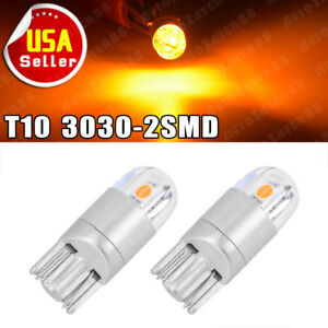 2x T10 Amber Yellow Led Interior Light Dome Instrument License Bulbs 192 161 W5w
