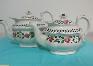 Pair Of Very Old Handpainted English Tea Pots