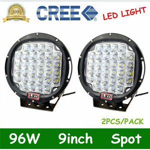 Pair 96w Round 9inch Led Work Light Spot Driving Offroad Truck 4wd Suv Lamp Fogs