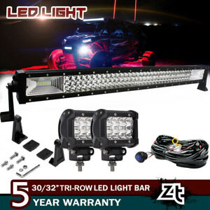 30 32 180w Curved Led Light Bar Offroad Work Lamps Spot Flood Combo wirings Kit