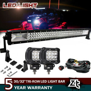 Polaris Rzr 800 900 Xp4 1000 Upper Roof 30 32 Curved Led Light Bar Combo Kit